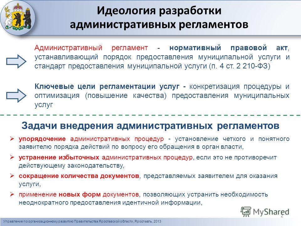 Управление по организационному развитию Правительства Ярославской области, Ярославль, 2013 фото Административный регламент - нормативный правовой акт, устанавливающий порядок предоставления муниципальной услуги и стандарт предоставления муниципальной