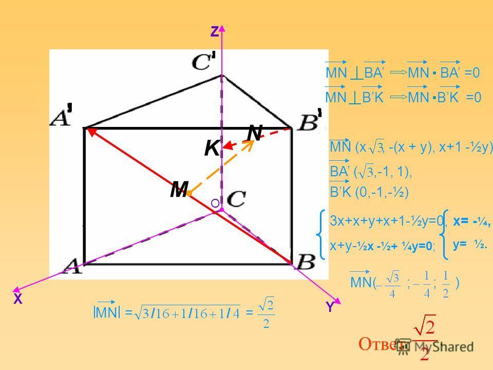 K MN BAMN BA =0 MN BK O X Y Z M N 3x+x+y+x+1-½y=0, x+y- ½x -½+ ¼y=0; x= - ¼, y= ½. MN BK =0 MN = = Ответ : BA (,-1, 1), BK (0,-1,-½) MN (x, -(x + y), x+1 -½y). MN( ; ; )