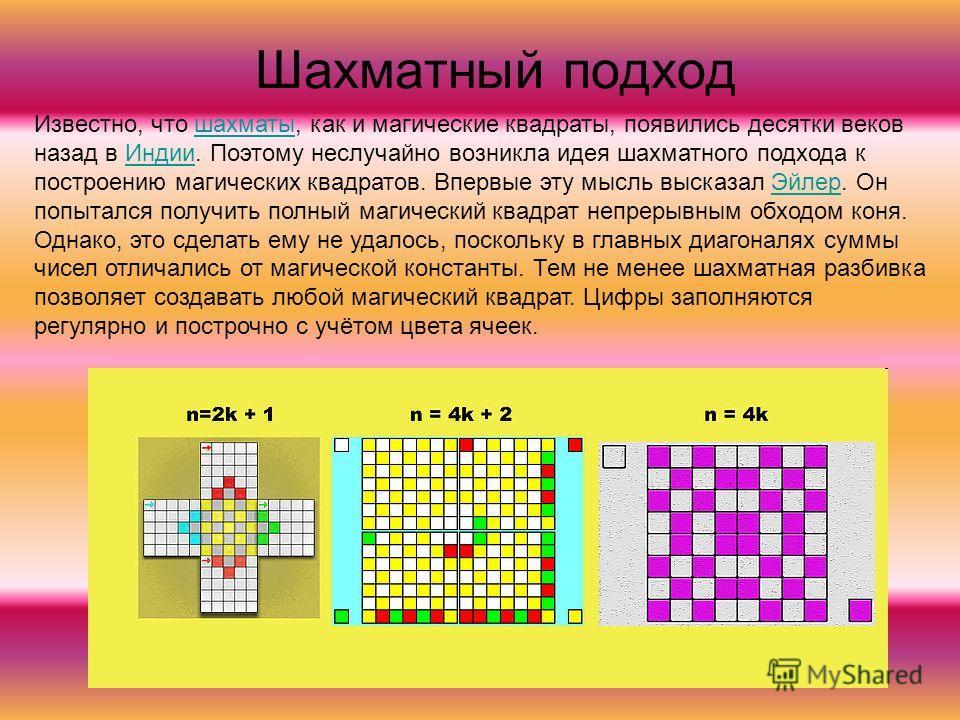 Шахматный подход Известно, что шахматы, как и магические квадраты, появились десятки веков назад в Индии. Поэтому неслучайно возникла идея шахматного подхода к построению магических квадратов. Впервые эту мысль высказал Эйлер. Он попытался получить п