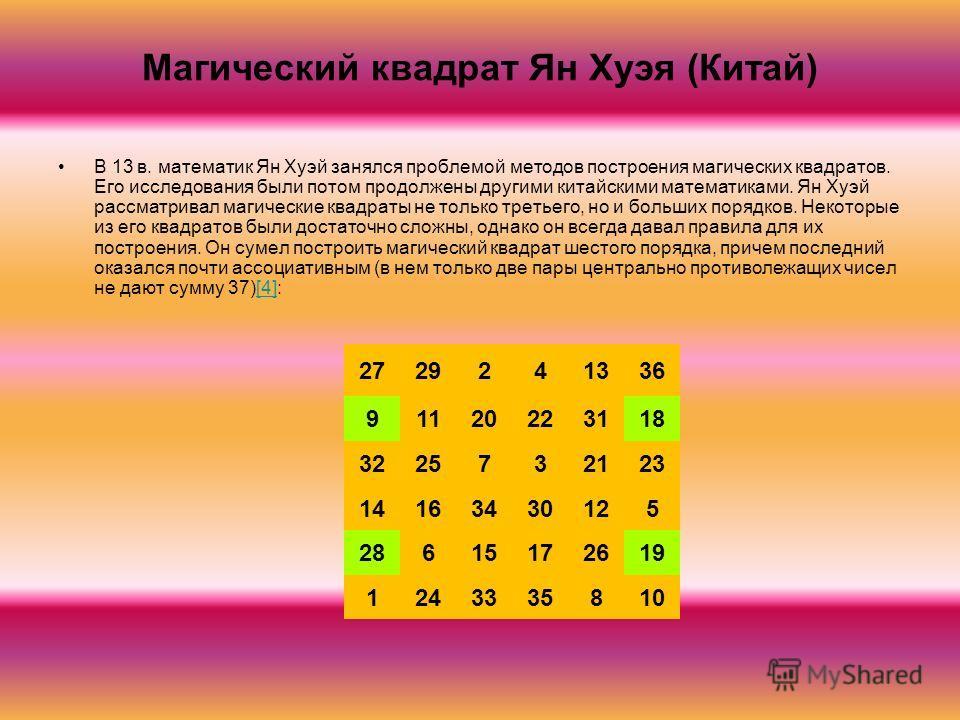Магический квадрат Ян Хуэя (Китай) В 13 в. математик Ян Хуэй занялся проблемой методов построения магических квадратов. Его исследования были потом продолжены другими китайскими математиками. Ян Хуэй рассматривал магические квадраты не только третьег