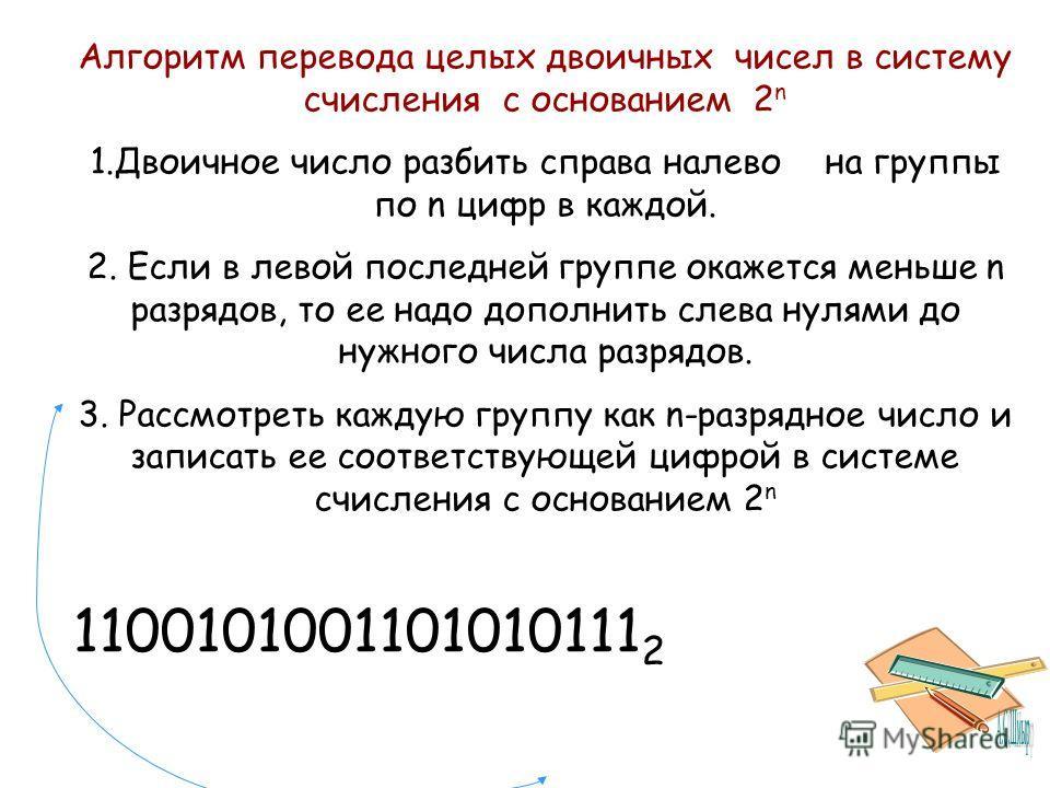 Алгоритм перевода целых двоичных чисел в систему счисления с основанием 2 n 1.Двоичное число разбить справа налевона группы по n цифр в каждой. 2. Если в левой последней группе окажется меньше n разрядов, то ее надо дополнить слева нулями до нужного