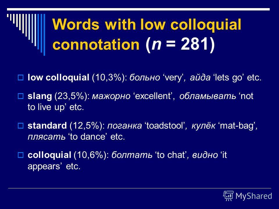 Words with low colloquial connotation (n = 281) low colloquial (10,3%): больно very, айда lets go etc. slang (23,5%): мажорно excellent, обламывать not to live up etc. standard (12,5%): поганка toadstool, кулёк mat-bag, плясать to dance etc. colloqui