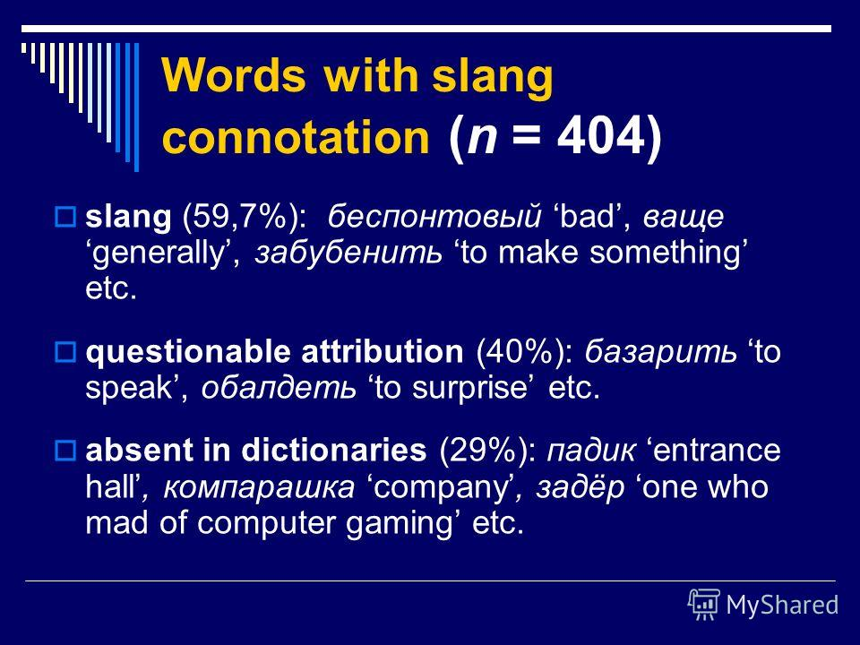 Words with slang connotation (n = 404) slang (59,7%): беспонтовый bad, ващеgenerally, забубенить to make something etc. questionable attribution (40%): базарить to speak, обалдеть to surprise etc. absent in dictionaries (29%): падик entrance hall, ко