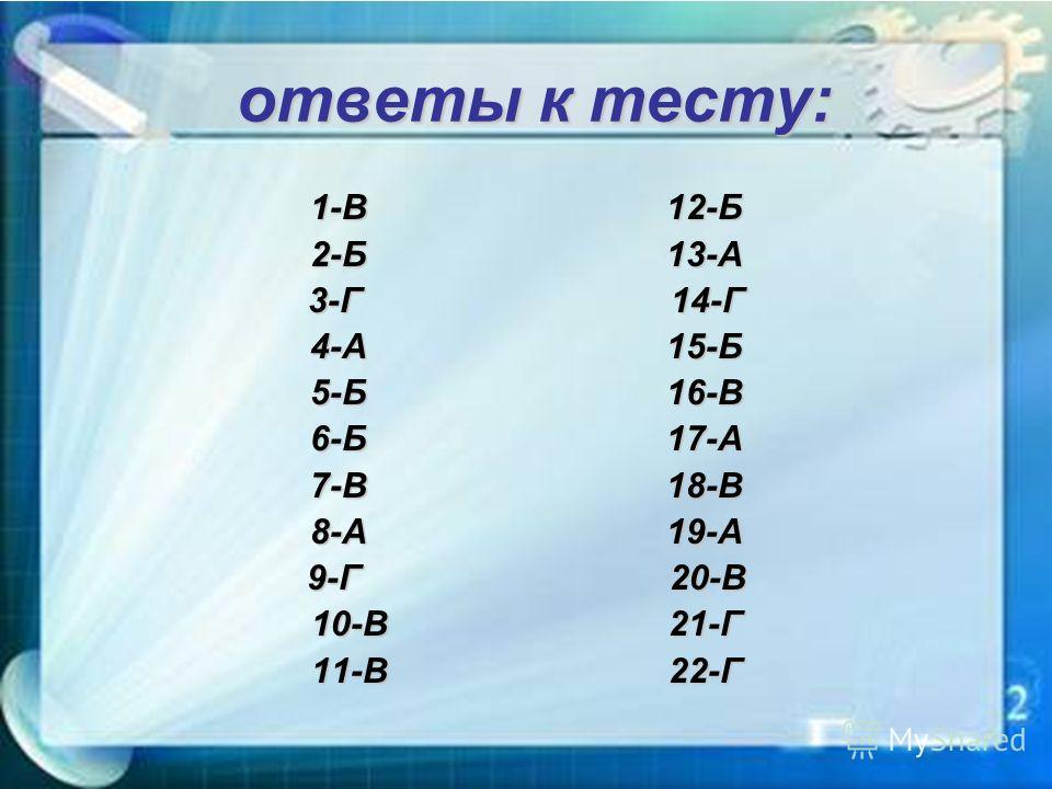 ответы к тесту: ответы к тесту: 1-В 12-Б 2-Б 13-А 3-Г 14-Г 4-А 15-Б 5-Б 16-В 6-Б 17-А 7-В 18-В 8-А 19-А 9-Г 20-В 10-В 21-Г 11-В 22-Г