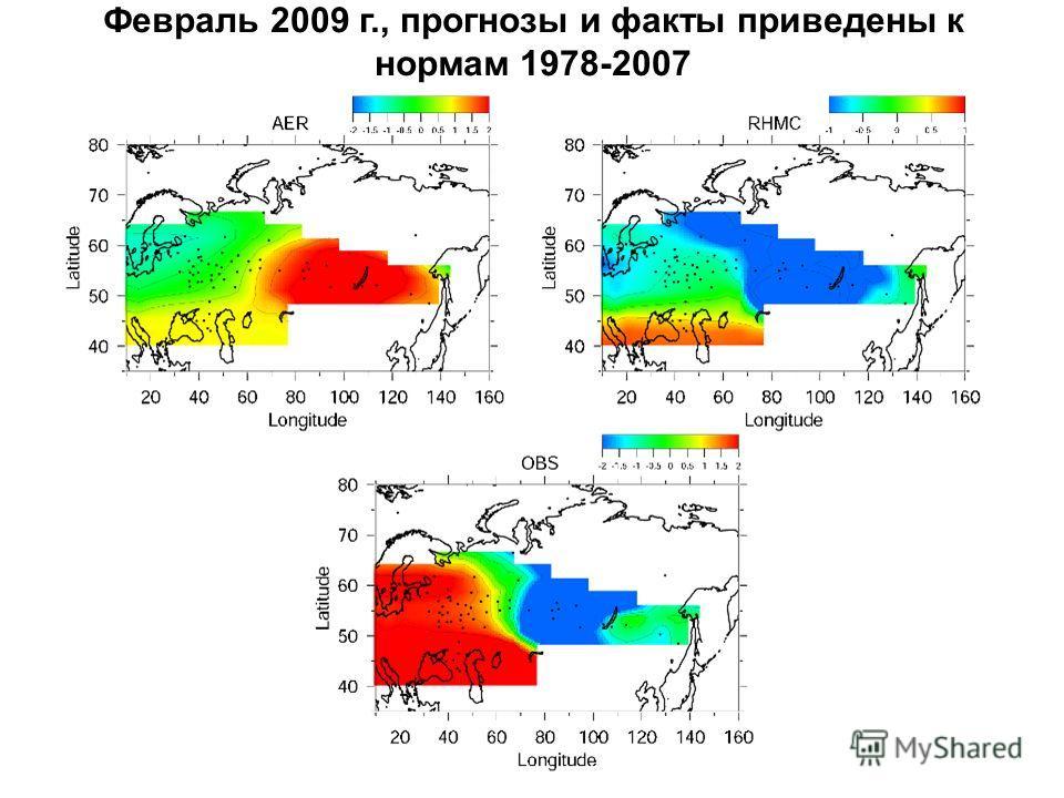 Февраль 2009 г., прогнозы и факты приведены к нормам 1978-2007