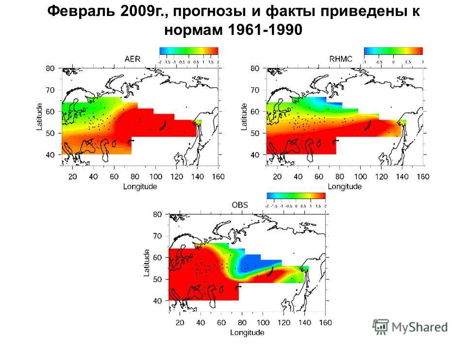 Февраль 2009г., прогнозы и факты приведены к нормам 1961-1990