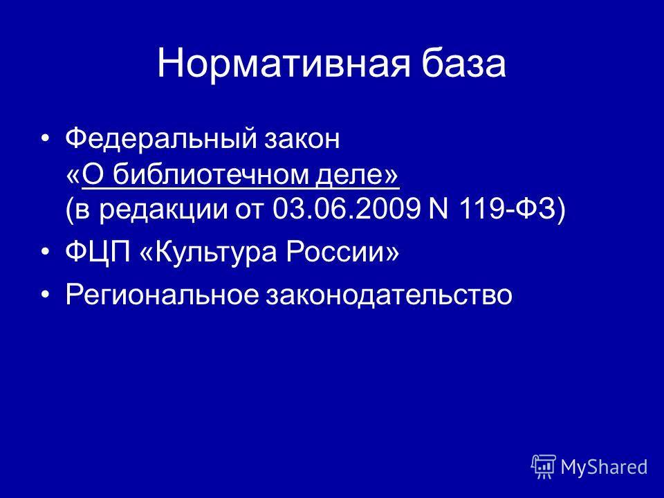 Нормативная база Федеральный закон «О библиотечном деле» (в редакции от 03.06.2009 N 119-ФЗ) ФЦП «Культура России» Региональное законодательство