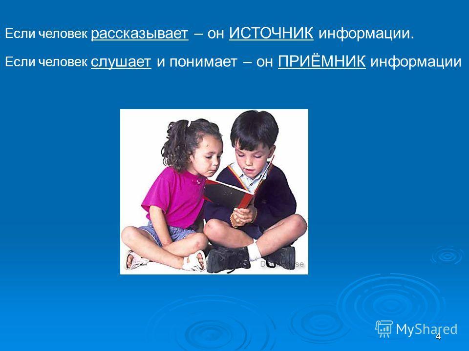 4 Если человек рассказывает – он ИСТОЧНИК информации. Если человек слушает и понимает – он ПРИЁМНИК информации