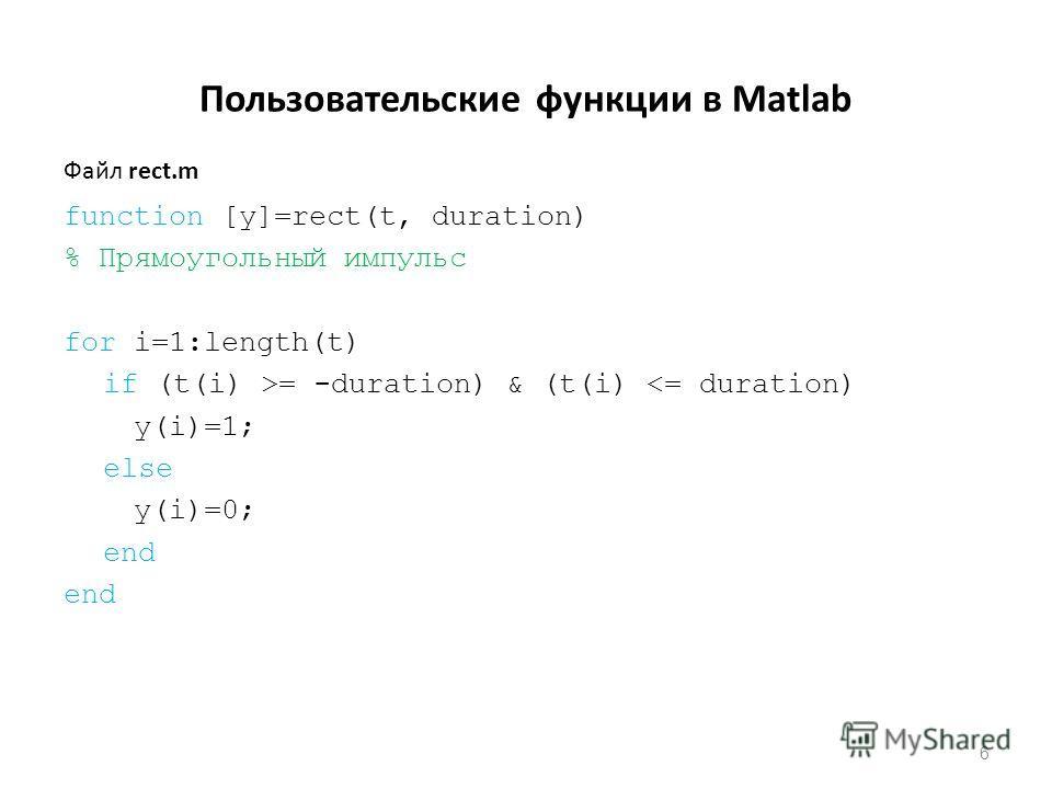 Пользовательские функции в Matlab function [y]=rect(t, duration) % Прямоугольный импульс for i=1:length(t) if (t(i) >= -duration) & (t(i)