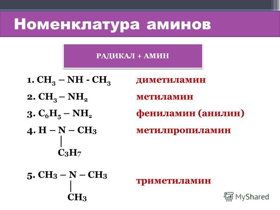 Номенклатура аминов РАДИКАЛ + АМИН 1. СН 3 – NН - СН 3 2. СН 3 – NН 2 3. С 6 Н 5 – NН 2 4. H – N – CH 3 С 3 Н 7 5. CH 3 – N – CH 3 СН 3 диметиламин метиламин фениламин (анилин) метилпропиламин триметиламин