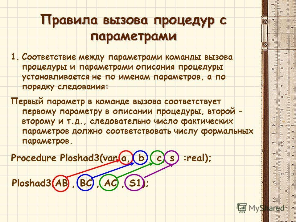 1.Соответствие между параметрами команды вызова процедуры и параметрами описания процедуры устанавливается не по именам параметров, а по порядку следования: Первый параметр в команде вызова соответствует первому параметру в описании процедуры, второй
