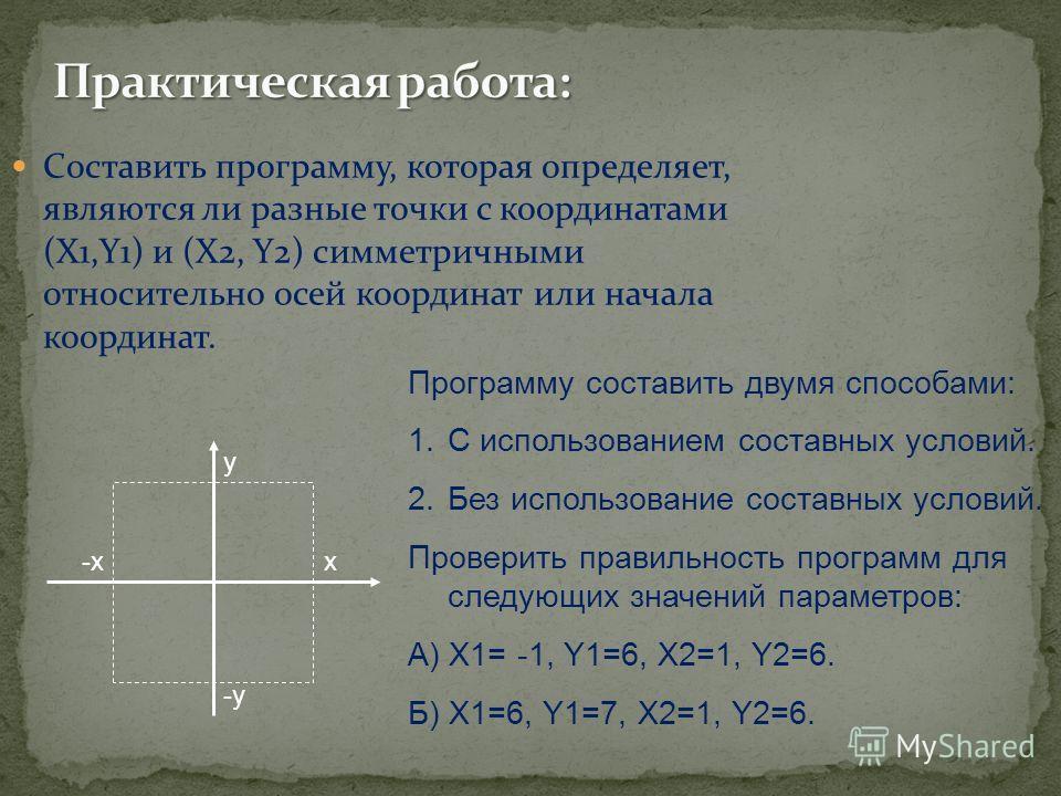 Составить программу, которая определяет, являются ли разные точки с координатами (X1,Y1) и (X2, Y2) симметричными относительно осей координат или начала координат. -x-xx y -y-y Программу составить двумя способами: 1.С использованием составных условий