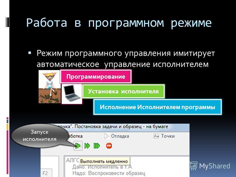 Работа в программном режиме Режим программного управления имитирует автоматическое управление исполнителем Программирование Установка исполнителя Исполнение Исполнителем программы Запуск исполнителя