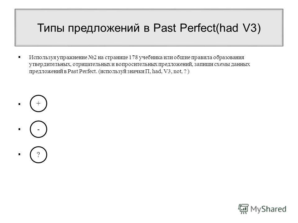 Типы предложений в Past Perfect(had V3) Используя упражнение 2 на странице 178 учебника или общие правила образования утвердительных, отрицательных и вопросительных предложений, запиши схемы данных предложений в Past Perfect. (используй значки П, had