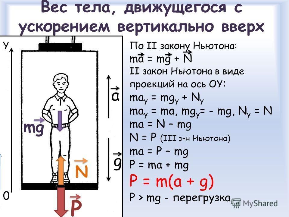 Вес тела, движущегося с ускорением вертикально вверх mg N P По II закону Ньютона: ma = mg + N II закон Ньютона в виде проекций на ось ОY : ma y = mg y + N y ma y = ma, mg y = - mg, N y = N ma = N – mg N = P (III з-н Ньютона) ma = P – mg P = ma + mg P