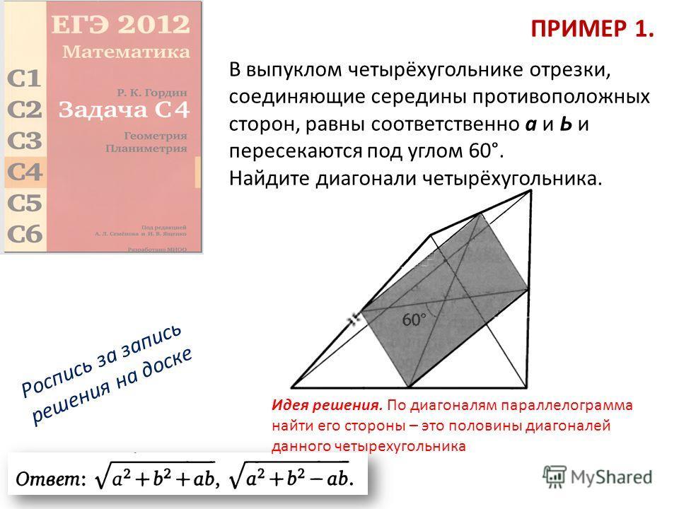 ПРИМЕР 1. В выпуклом четырёхугольнике отрезки, соединяющие середины противоположных сторон, равны соответственно а и Ь и пересекаются под углом 60°. Найдите диагонали четырёхугольника. Роспись за запись решения на доске Идея решения. По диагоналям па