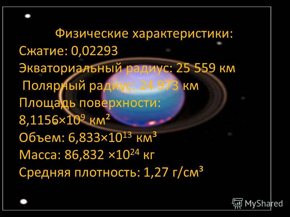 Физические характеристики: Сжатие: 0,02293 Экваториальный радиус: 25 559 км Полярный радиус: 24 973 км Площадь поверхности: 8,1156×10 9 км² Объем: 6,833×10 13 км³ Масса: 86,832 ×10 24 кг Средняя плотность: 1,27 г/см³