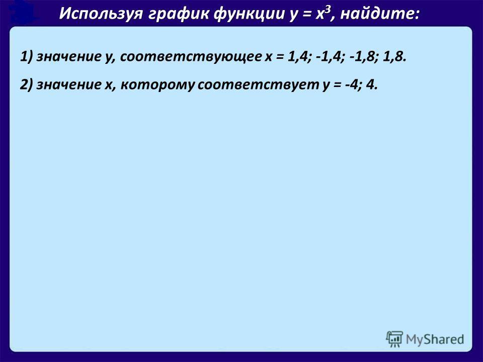 1) значение у, соответствующее х = 1,4; -1,4; -1,8; 1,8. 2) значение х, которому соответствует у = -4; 4. Используя график функции у = х 3, найдите: