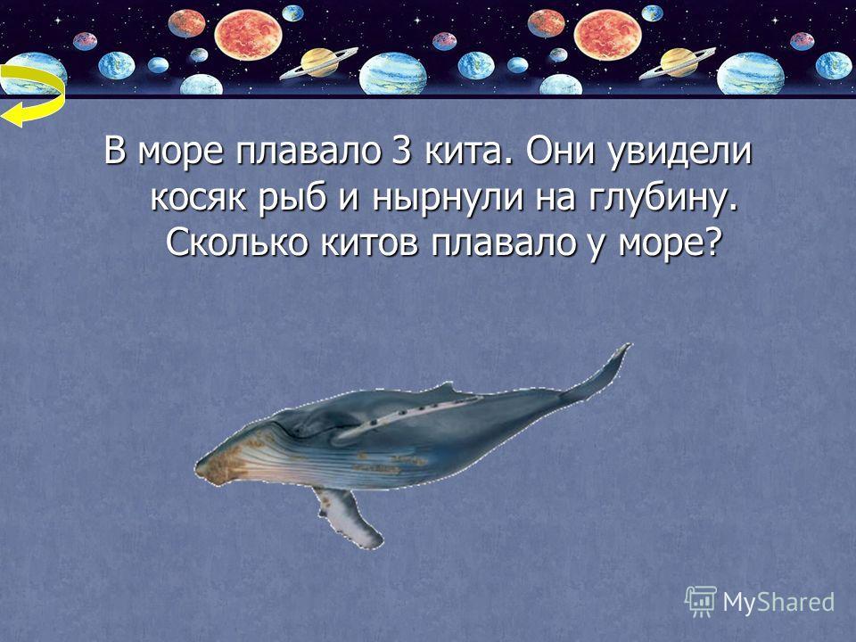 В море плавало 3 кита. Они увидели косяк рыб и нырнули на глубину. Сколько китов плавало у море?