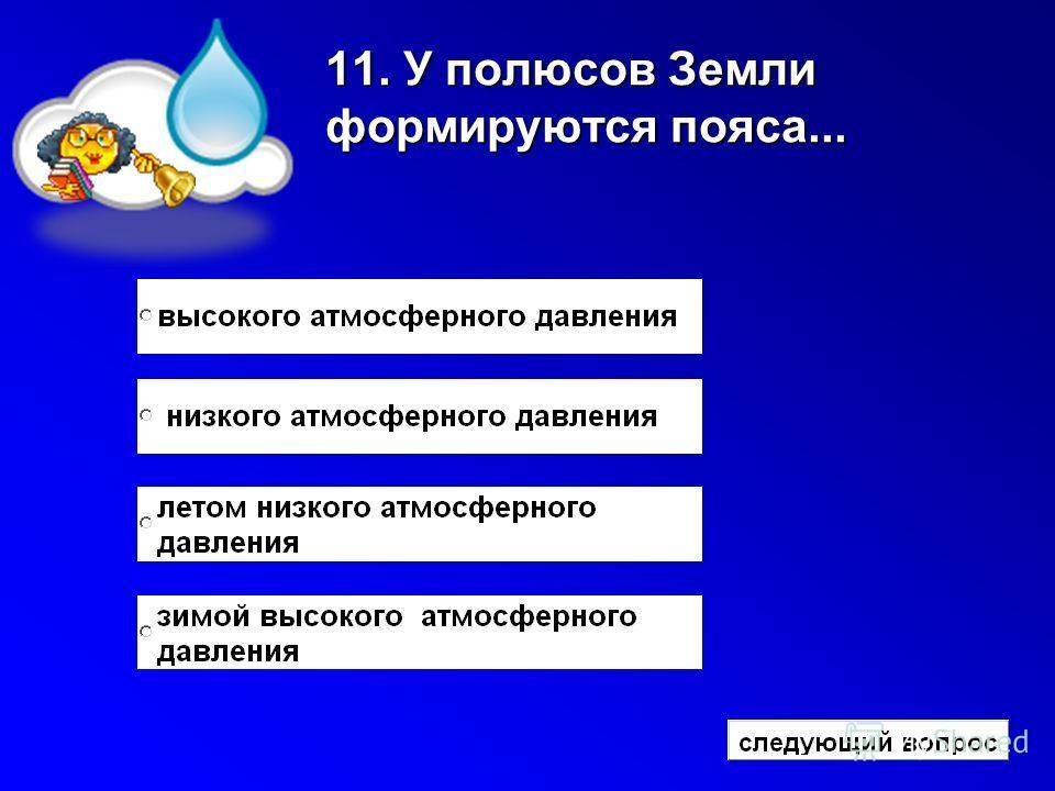 11. У полюсов Земли формируются пояса...