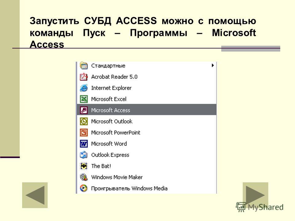 Запустить СУБД ACCESS можно с помощью команды Пуск – Программы – Microsoft Access