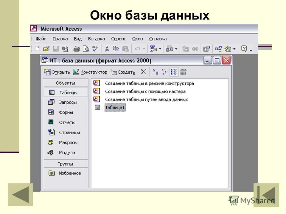 Окно базы данных