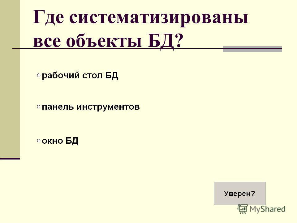 Где систематизированы все объекты БД?