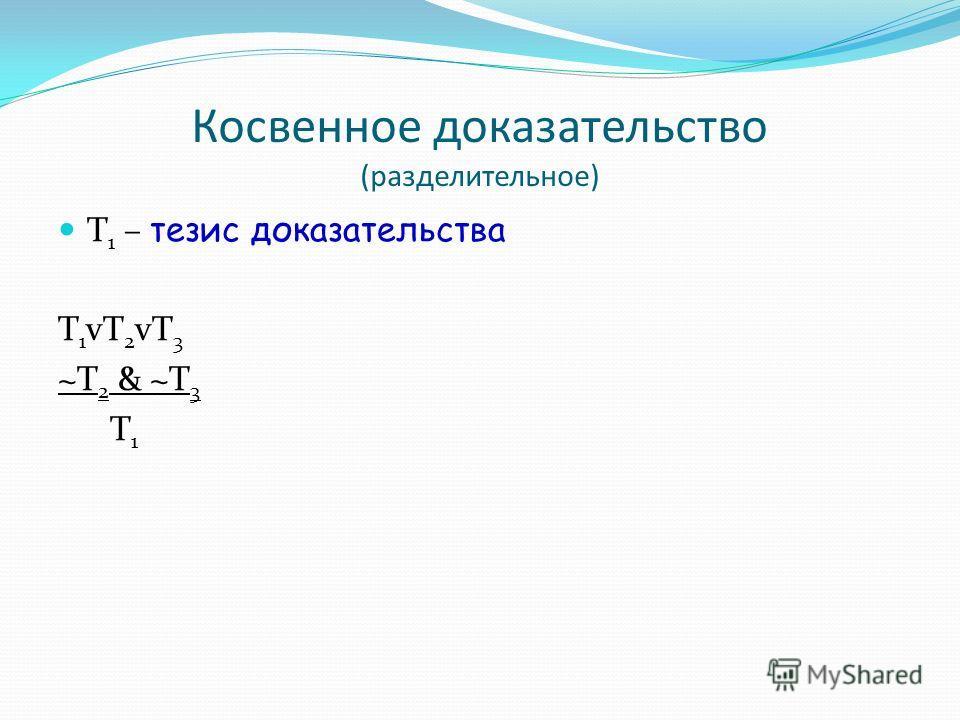 Косвенное доказательство (разделительное) Т 1 – тезис доказательства Т1vТ2vТ3Т1vТ2vТ3 ~T 2 & ~T 3 T 1