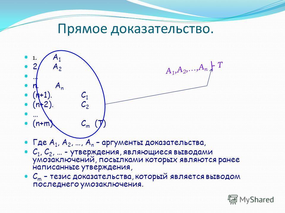 Прямое доказательство. 1. A 1 2.A 2 … n. A n (n+1). C 1 (n+2). C 2 … (n+m).C m (T) Где A 1, A 2, …, A n – аргументы доказательства, C 1, C 2, … - утверждения, являющиеся выводами умозаключений, посылками которых являются ранее написанные утверждения,