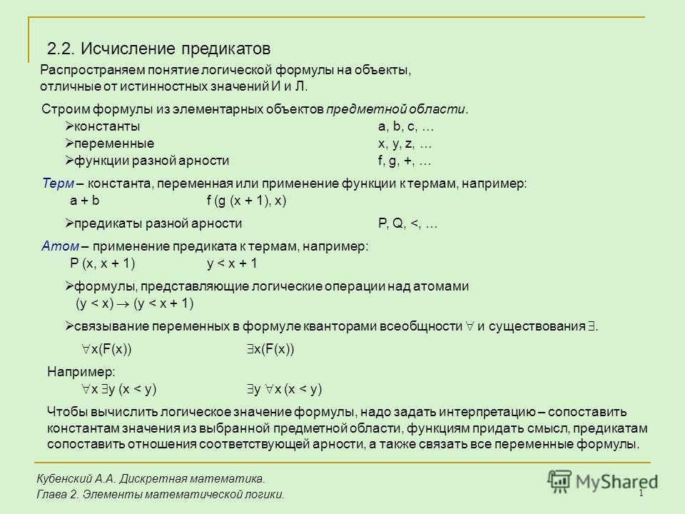 1 Кубенский А.А. Дискретная математика. Глава 2. Элементы математической логики. 2.2. Исчисление предикатов Распространяем понятие логической формулы на объекты, отличные от истинностных значений И и Л. Строим формулы из элементарных объектов предмет