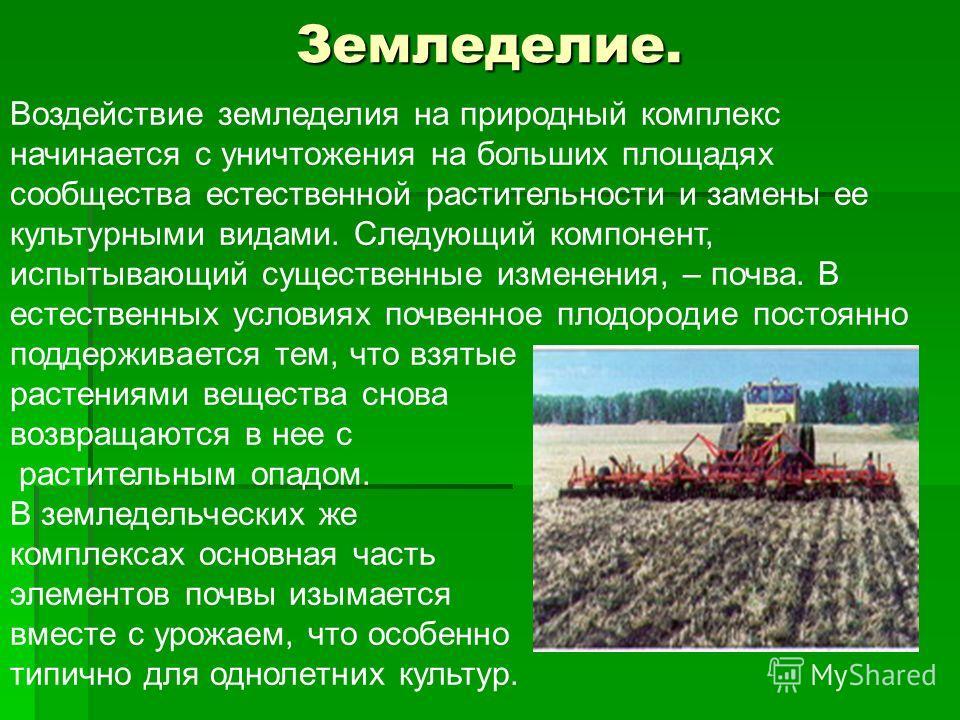 Земледелие. Воздействие земледелия на природный комплекс начинается с уничтожения на больших площадях сообщества естественной растительности и замены ее культурными видами. Следующий компонент, испытывающий существенные изменения, – почва. В естестве