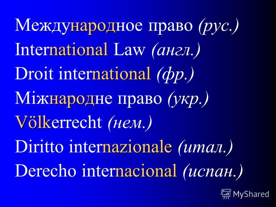 народ Международное право (рус.) national International Law (англ.) national Droit international (фр.) народ Miжнародне право (укр.) Völk Völkerrecht (нем.) nazionale Diritto internazionale (итал.) nacional Derecho internacional (испан.)