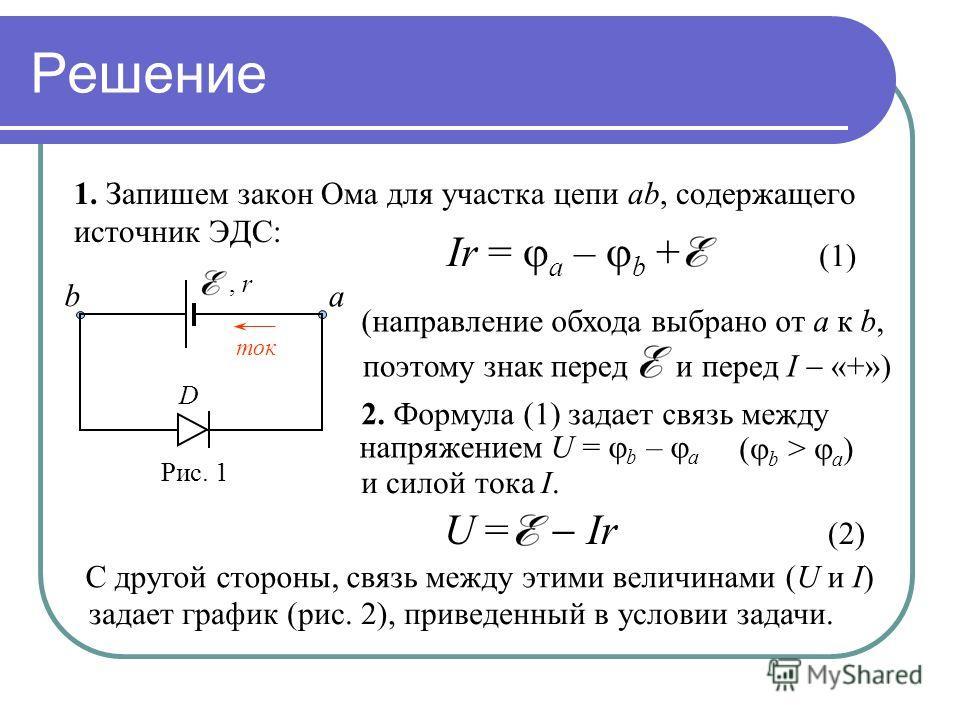 Решение 1. Запишем закон Ома для участка цепи ab, содержащего источник ЭДС: a b (направление обхода выбрано от a к b, ток 2. Формула (1) задает связь между напряжением U = b – a и силой тока I. ( b > a ) С другой стороны, связь между этими величинами