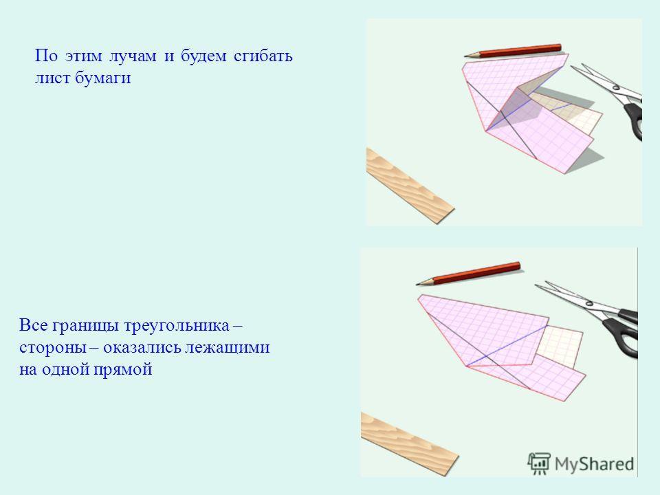 По этим лучам и будем сгибать лист бумаги Все границы треугольника – стороны – оказались лежащими на одной прямой