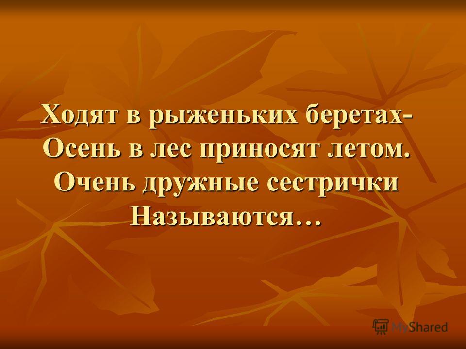 Ходят в рыженьких беретах- Осень в лес приносят летом. Очень дружные сестрички Называются…