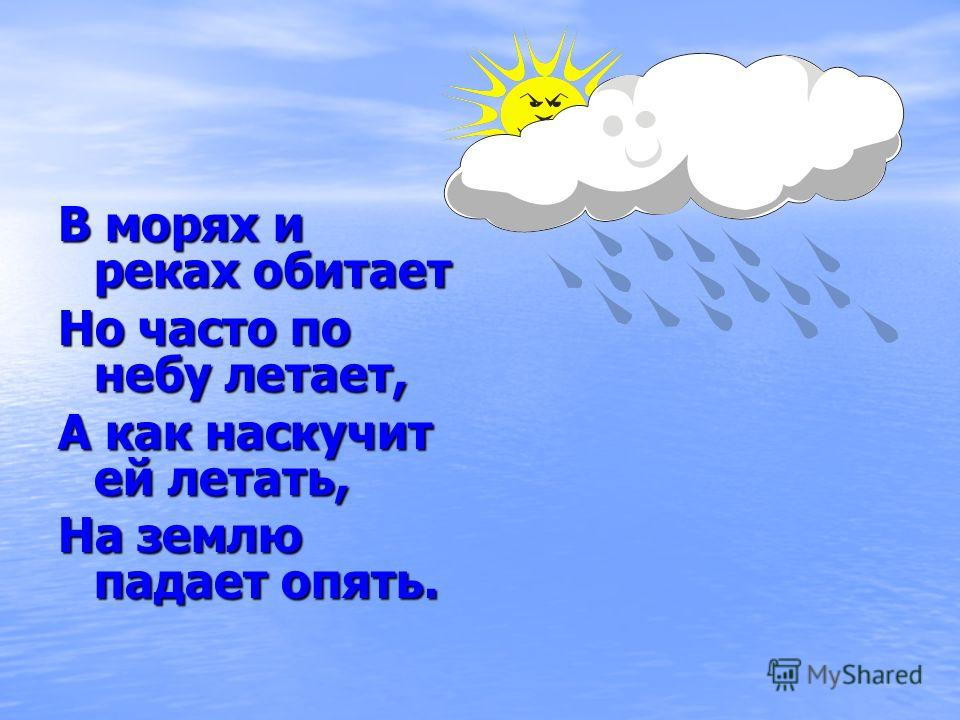 В морях и реках обитает Но часто по небу летает, А как наскучит ей летать, На землю падает опять.