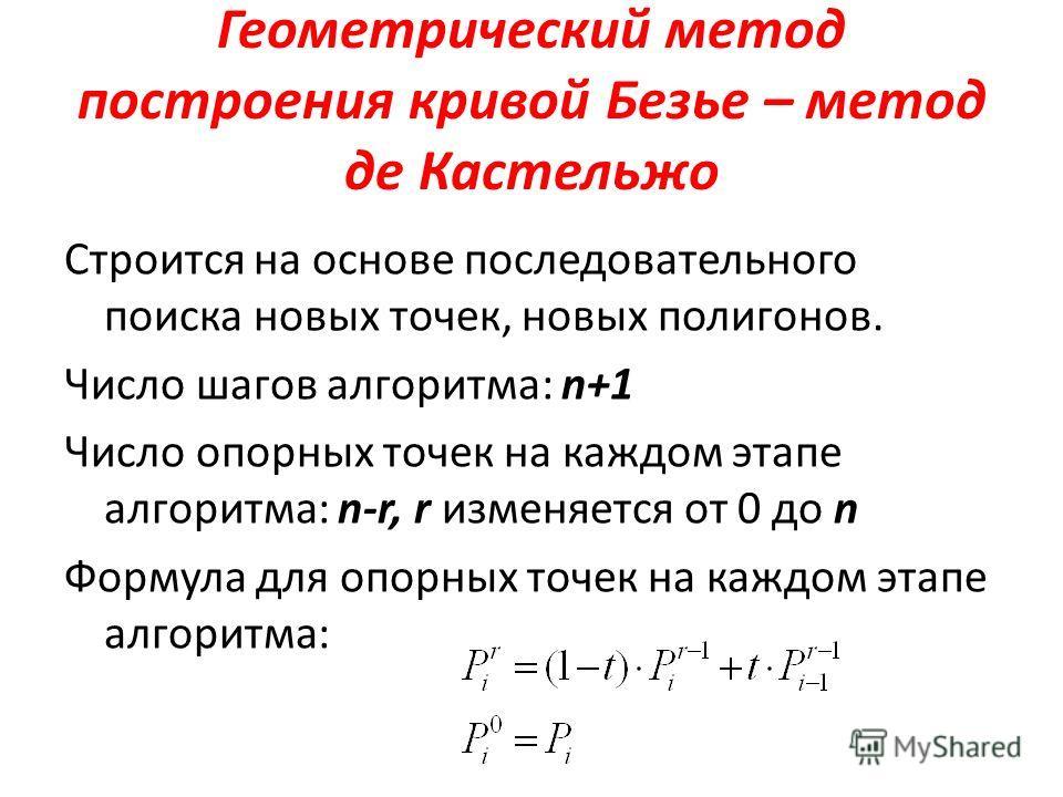 Геометрический метод построения кривой Безье – метод де Кастельжо Строится на основе последовательного поиска новых точек, новых полигонов. Число шагов алгоритма: n+1 Число опорных точек на каждом этапе алгоритма: n-r, r изменяется от 0 до n Формула