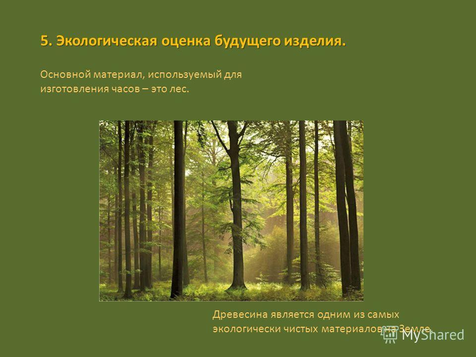 5. Экологическая оценка будущего изделия. Основной материал, используемый для изготовления часов – это лес. Древесина является одним из самых экологически чистых материалов на Земле.