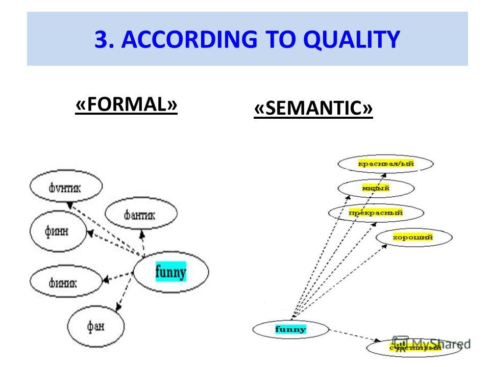 3. ACCORDING TO QUALITY «FORMAL» «SEMANTIC»