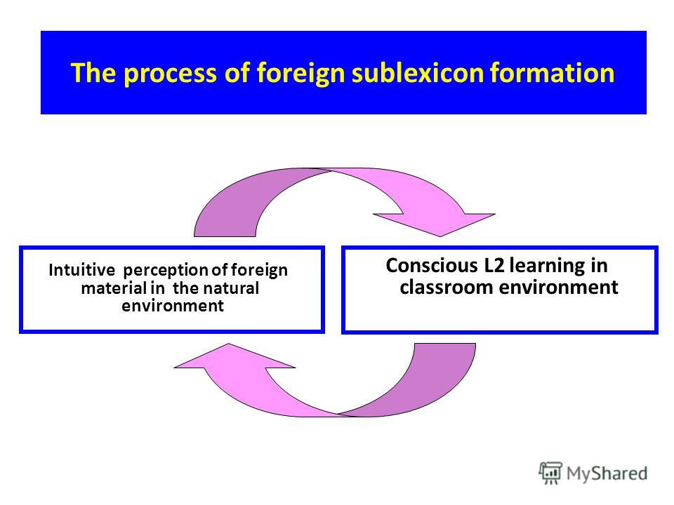 The process of foreign sublexicon formation Intuitive perception of foreign material in the natural environment Conscious L2 learning in classroom environment