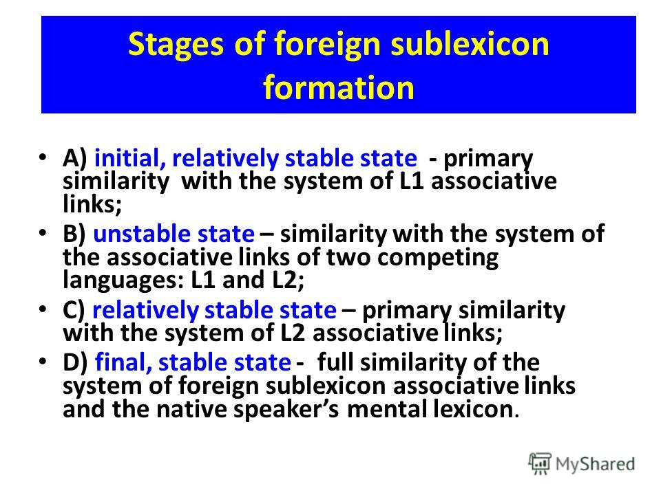 Stages of foreign sublexicon formation A) initial, relatively stable state - primary similarity with the system of L1 associative links; B) unstable state – similarity with the system of the associative links of two competing languages: L1 and L2; C)