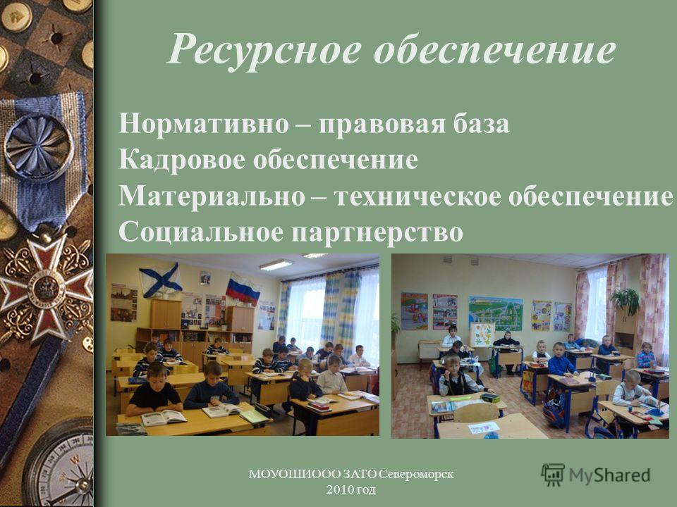 МОУОШИООО ЗАТО Североморск 2010 год Ресурсное обеспечение Нормативно – правовая база Кадровое обеспечение Материально – техническое обеспечение Социальное партнерство
