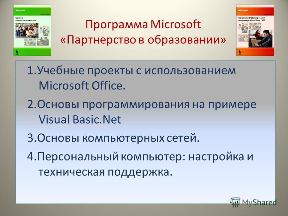 Программа Microsoft «Партнерство в образовании» 1.Учебные проекты с использованием Microsoft Office. 2.Основы программирования на примере Visual Basic.Net 3.Основы компьютерных сетей. 4.Персональный компьютер: настройка и техническая поддержка.