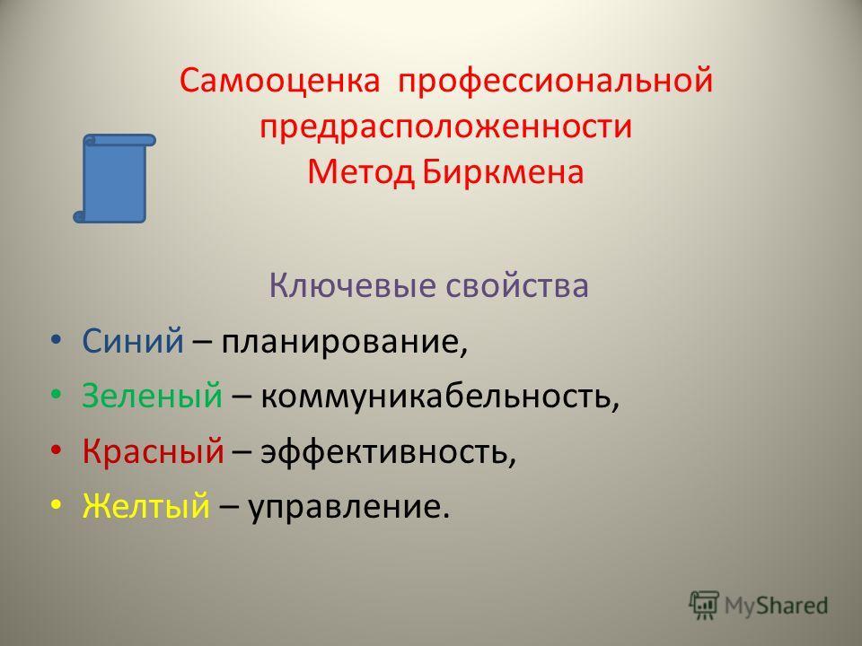 Самооценка профессиональной предрасположенности Метод Биркмена Ключевые свойства Синий – планирование, Зеленый – коммуникабельность, Красный – эффективность, Желтый – управление.