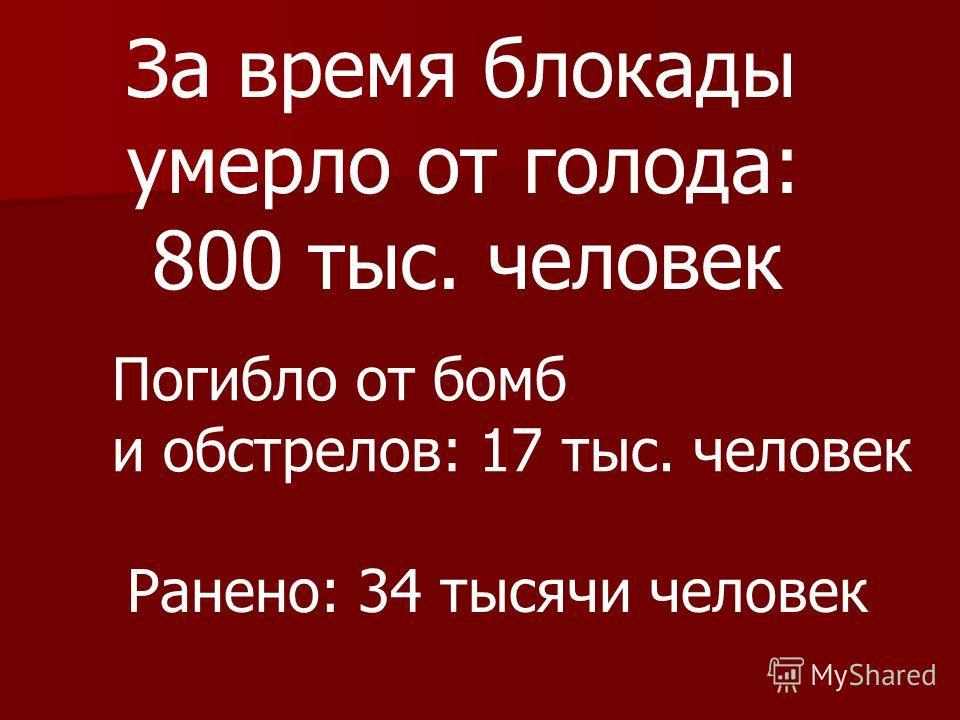 За время блокады умерло от голода: 800 тыс. человек Погибло от бомб и обстрелов: 17 тыс. человек Ранено: 34 тысячи человек