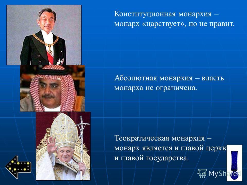 Конституционная монархия – монарх «царствует», но не правит. Абсолютная монархия – власть монарха не ограничена. Теократическая монархия – монарх является и главой церкви, и главой государства.