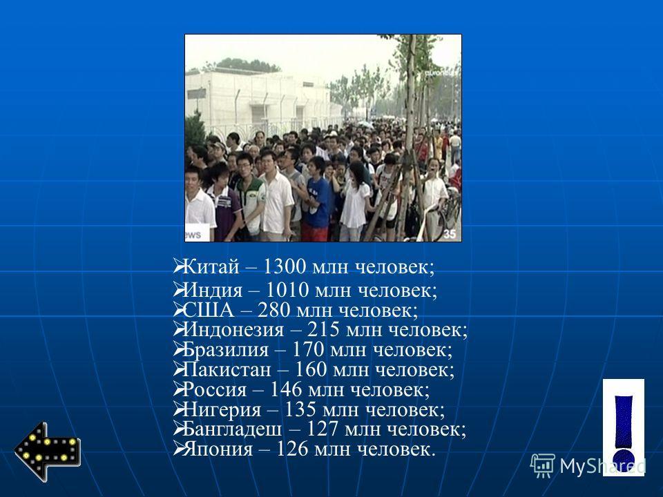 К итай – 1300 млн человек; Индия – 1010 млн человек; США – 280 млн человек; Индонезия – 215 млн человек; Бразилия – 170 млн человек; Пакистан – 160 млн человек; Россия – 146 млн человек; Нигерия – 135 млн человек; Бангладеш – 127 млн человек; Япония