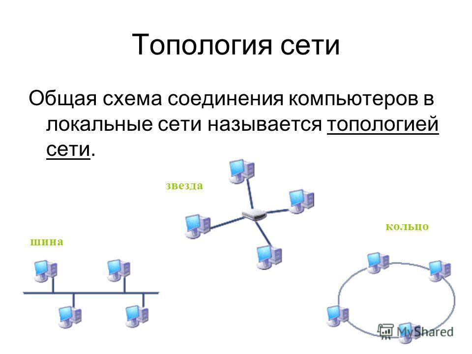 Топология сети Общая схема соединения компьютеров в локальные сети называется топологией сети. шина звезда кольцо