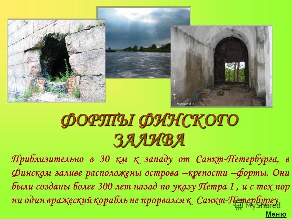 Приблизительно в 30 км к западу от Санкт-Петербурга, в Финском заливе расположены острова –крепости –форты. Они были созданы более 300 лет назад по указу Петра I, и с тех пор ни один вражеский корабль не прорвался к Санкт-Петербургу ФОРТЫ ФИНСКОГО ЗА