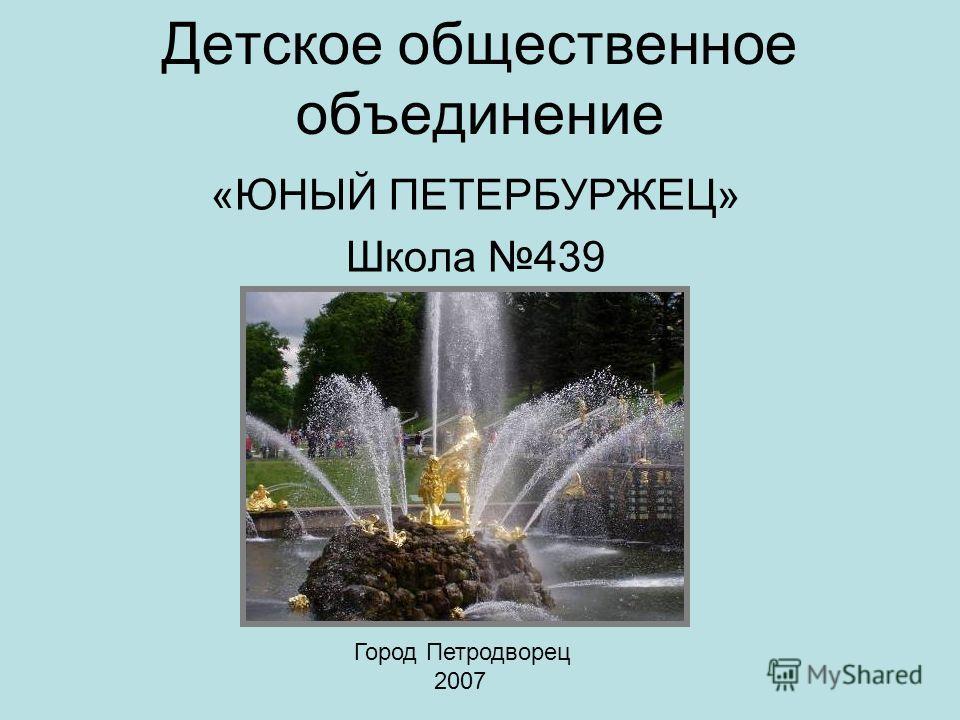 Детское общественное объединение «ЮНЫЙ ПЕТЕРБУРЖЕЦ» Школа 439 Город Петродворец 2007